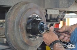 brake and bearing servicing on a caravan
