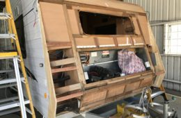 whole front panelling of caravan removed for repairs and refit
