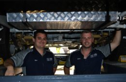 hayden and adam from suncoast caravan service in the workshop