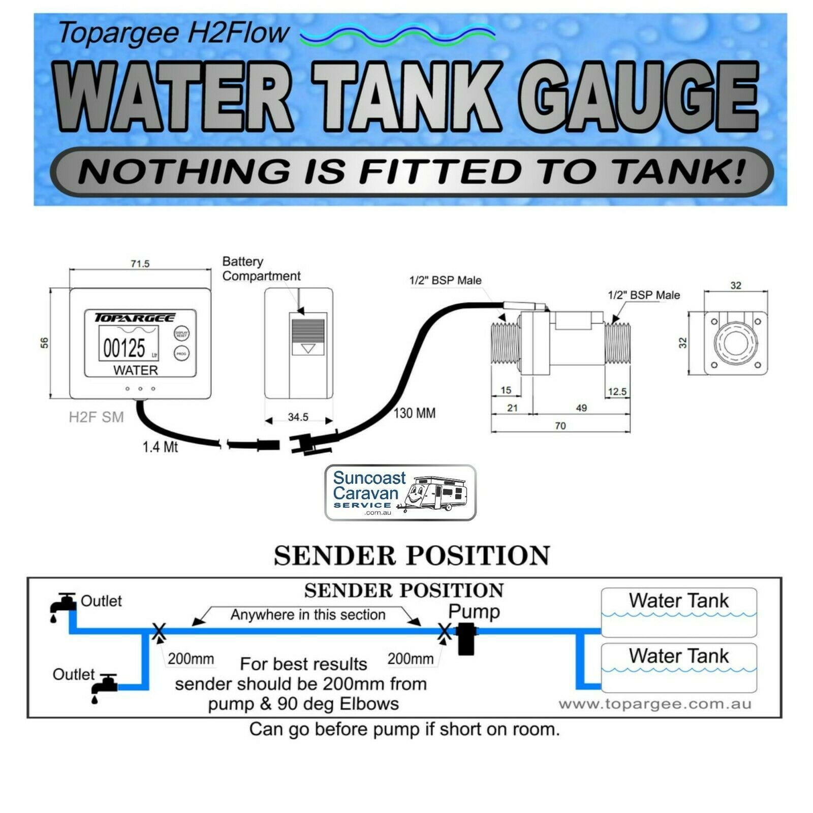 Topargee Flush Mount Water Tank Gauge RV + 1 4 mt Extension