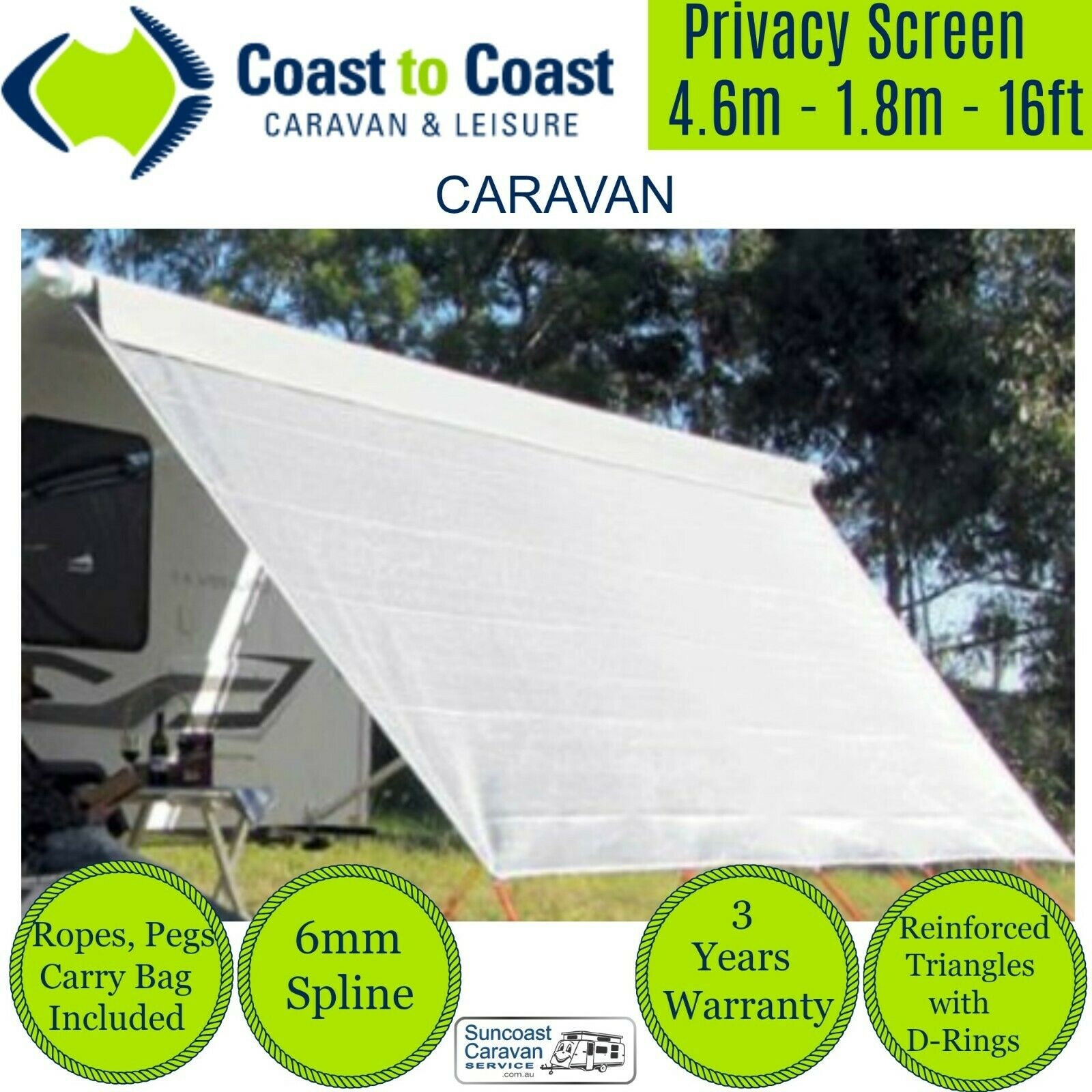 4 6mt Coast Caravan Privacy Screen Sunscreen Sun Shade