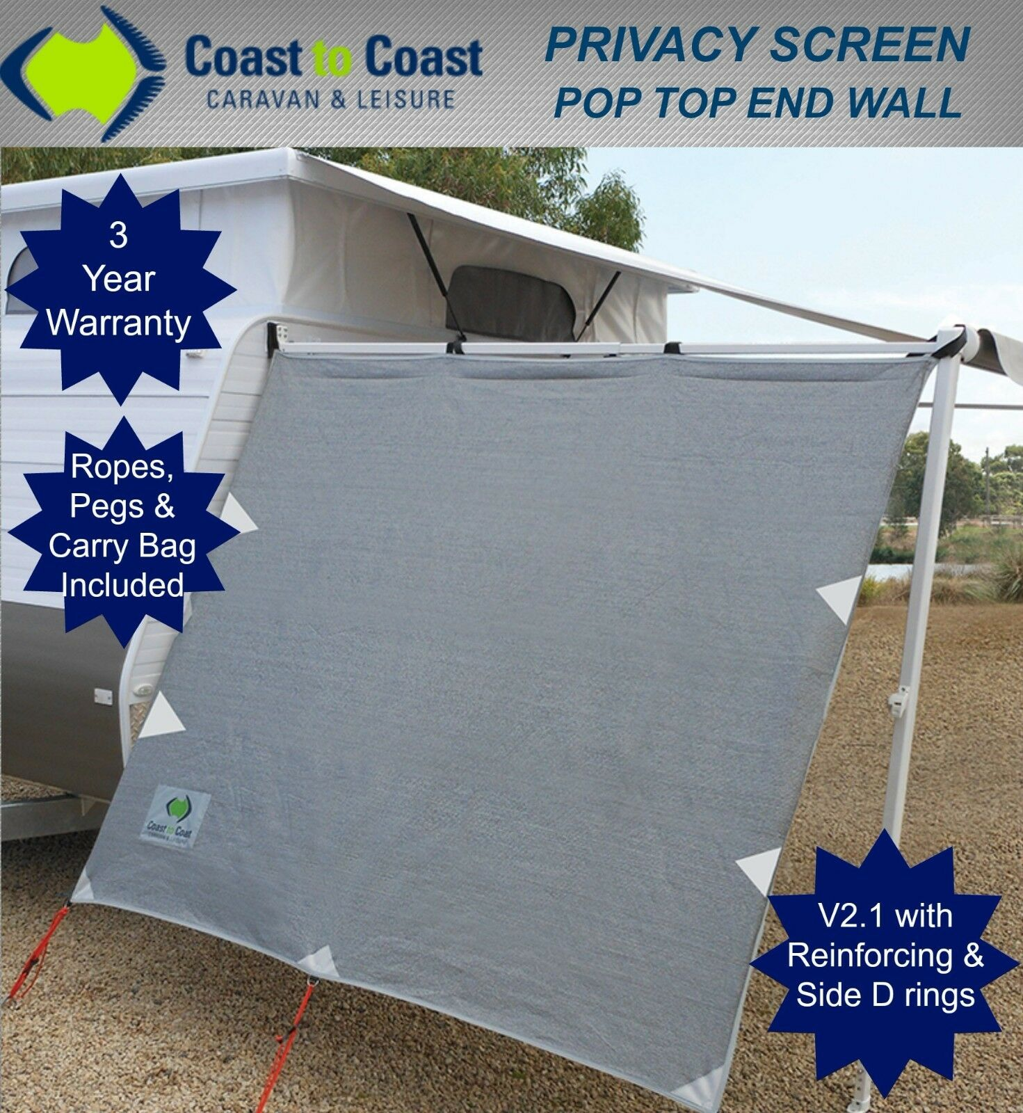 Coast Privacy Sun Screen End Wall For Poptop Suits